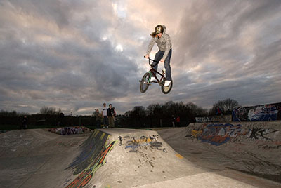 Flying high at a Runcorn skate park – promotional brochure for Halton Borough Council.
