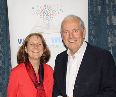 Lynn Pegler with Gyles Brandreth at Weaver Words