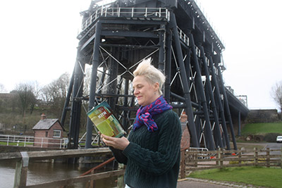 Poet Jo Bell performs at Anderton Boat Lift for Weaver Words Literature Festival. Photo: Lynn Pegler.