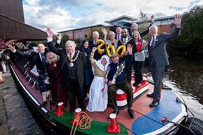 VIP party celebrate Leeds & Liverpool Canal Bicentenary in Blackburn. Photo: Mike Poloway