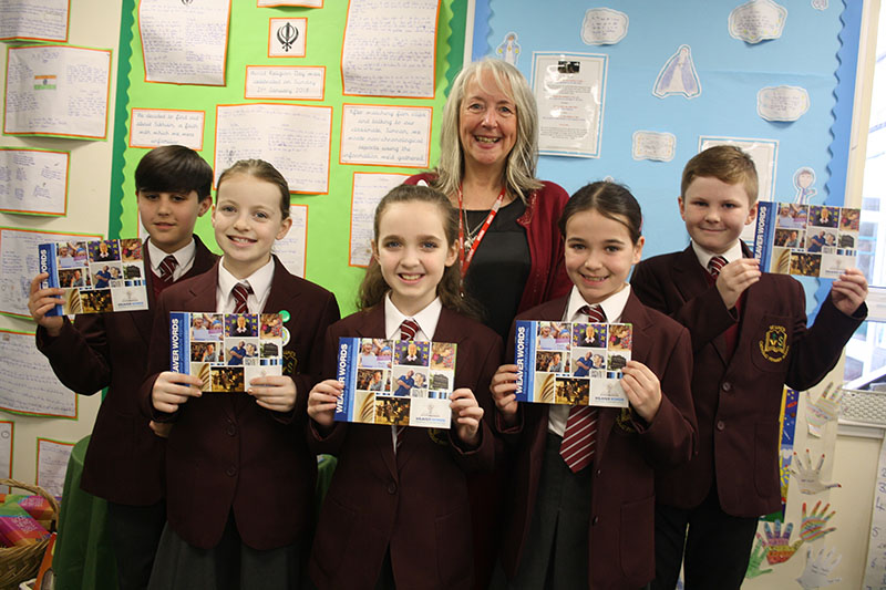 19 February: Poet Mandy Coe with Year 5 pupils from St Lukes RC primary school in Frodsham